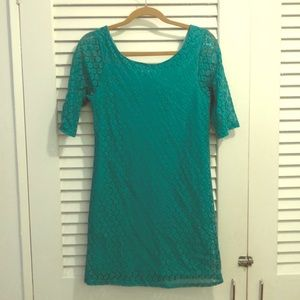 NWT Teal lace dress w/ elbow length sleeves